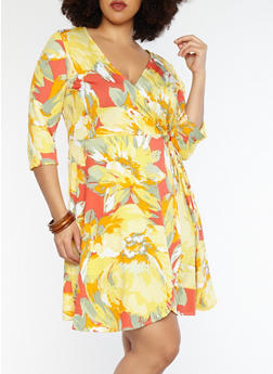 Plus Size Coral Faux Wrap Floral Dress - 8476074011583