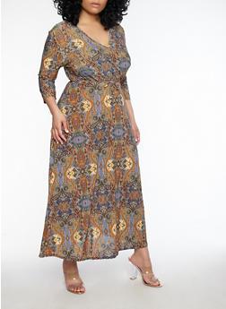 Plus Size Printed Faux Wrap Dress - 8476074011901