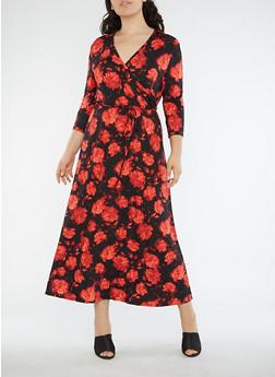 Plus Size Floral Faux Wrap Maxi Dress - 8476074014074