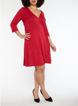 Plus Size Faux Wrap Dress - 8476074014157