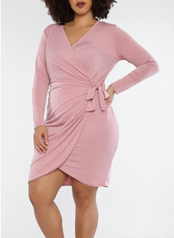 Plus Size Wrap Front Dress - 8476074014159