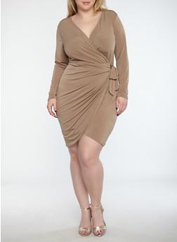 Plus Size Wrap Front Dress - 8476074014159