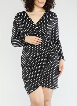 Plus Size Polka Dot Wrap Dress - 8476074014160