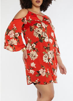 Plus Size Floral Cold Shoulder Dress - 8476074014161