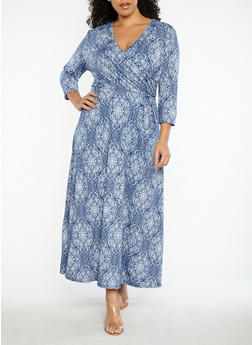 Plus Size Printed Faux Wrap Dress - 8476074017411