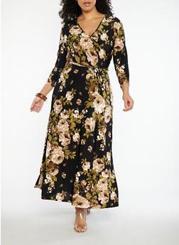 Plus Size Floral Faux Wrap Maxi Dress - 8476074017412