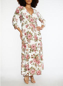 Plus Size Paisley Print Faux Wrap Dress - 8476074017413