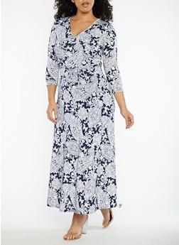 Plus Size Paisley Print Faux Wrap Dress - 8476074017413