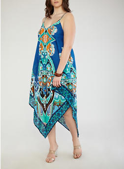 Plus Size Printed Asymmetrical Dress - 8476074181717