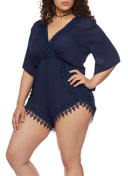 Plus Size Crochet Trimmed High Cut Romper - ECLIPSE - 8478054269194
