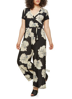 Plus Size Floral Faux Wrap Jumpsuit - 8478056129137