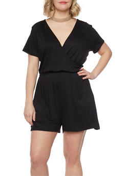 Plus Size Faux Wrap Romper with Choker - BLACK - 8478072241511