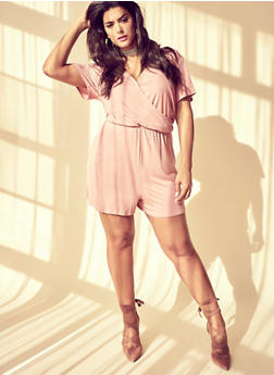 Plus Size Faux Wrap Romper with Choker - MAUVE - 8478072241511