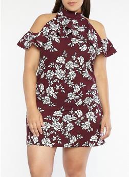 Plus Size Floral Print Shift Dress - 8478074010591