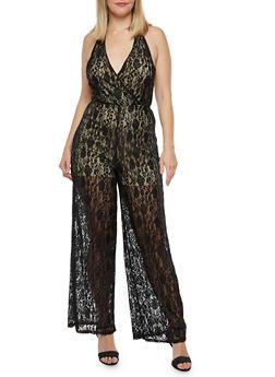 Plus Size Lace Halter Tie Jumpsuit - 8478074011588