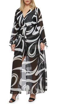Plus Size Printed Romper with Maxi Skirt Overlay - 8478074011591
