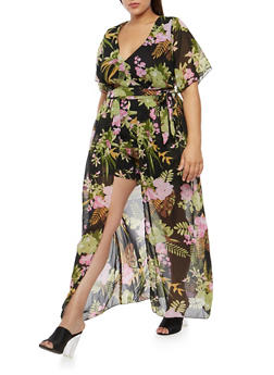 Plus Size Tropical Print Romper with Maxi Skirt Overlay - 8478074011592