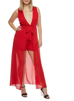 Plus Size Romper with Maxi Skirt Overlay - 8478074011594