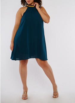 Plus Size Chain Detail Shift Dress - 8479062709991