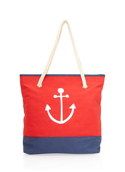 Color Block Anchor Graphic Beach Bag - 8502041656164