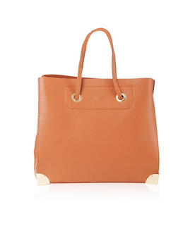 Faux Pebbled Leather Tote Bag with Metallic Accents - 8502060142072