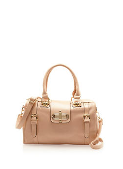Embossed Faux Leather Satchel Bag with Twist Lock - 8502060143002