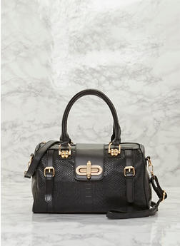 Embossed Faux Leather Satchel Bag with Twist Lock - BLACK/GOLD - 8502060143002