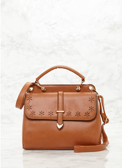 Lasercut Satchel with Detachable Shoulder Strap - CAMEL - 8502060145020
