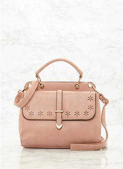 Lasercut Satchel with Detachable Shoulder Strap - BLUSH - 8502060145020