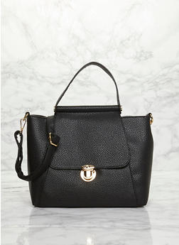 Large Faux Leather Top Handle Satchel - BLACK - 8502060145034
