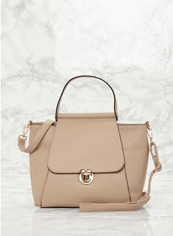 Large Faux Leather Top Handle Satchel - NUDE - 8502060145034
