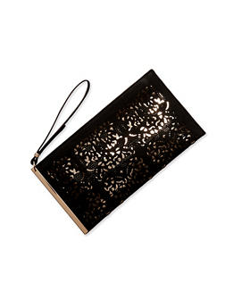 Foil Lined Lasercut Clutch with Wrist Strap - BLACK/GOLD - 8502061596055