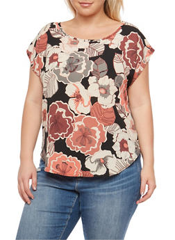 Plus Size Floral Crepe Knit Top - 9400020624408