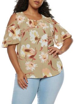 Plus Size Floral Cold Shoulder Top - 9400020625566