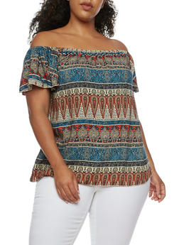 Plus Size Off the Shoulder Printed Peasant Top - 9400020625644