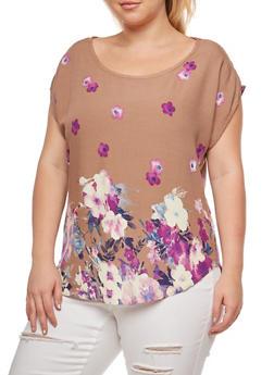 Plus Size Floral Border Print Top - 9400020627276
