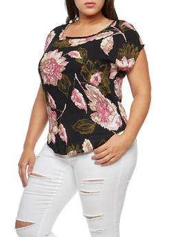 Plus Size Floral Short Sleeve Top - 9400020628041