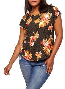 Plus Size Floral Crepe Knit Shirt - 9400020628043