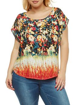 Plus Size Floral Top - 9400020628485
