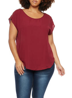 Plus Size Chiffon Top with Zip Shoulders - 9402072681099