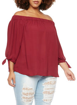 Plus Size Off the Shoulder Top with Tie Sleeves - 9402072681132