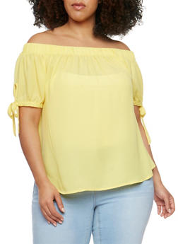 Plus Size Off the Shoulder Tie Sleeve Top - 9402072681172