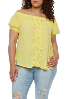 Plus Size Off the Shoulder Top with Crochet Detail - 9402072681190
