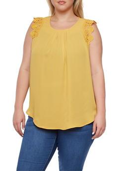 Plus Size Chiffon Top with Crochet Trim - MUSTARD - 9402072685118