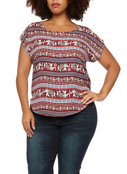 Plus Size Scoop Neck Top in Elephant Print - 9403020626458