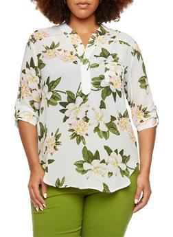 Plus Size Floral Top - 9403067956185