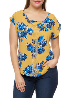 Plus Size Floral Top with Removable Necklace - 9404020626480
