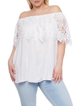 Plus Size Off the Shoulder Top with Crochet Overlay - 9404051066923