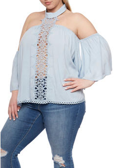 Plus Size Off the Shoulder Top with Crochet Halter Neck - 9404051066931
