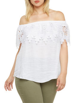 Plus Size Boho Top with Crochet Overlay at Neck - 9404054262259